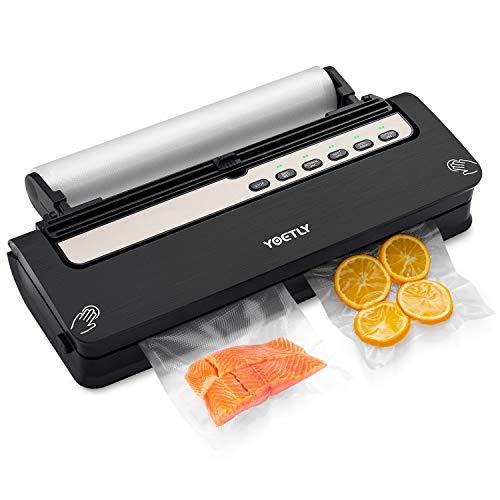 Vakuumierer Automatisch, 5 in 1 Vakuumiergerät mit Cutter für Trockene und Feuchte Lebensmittel Bleiben Sie bis zu 8x Länger Frisch,Vakuumrollen, 10 Profi-Folienbeutel, Schlauch für Vakuumbehälter
