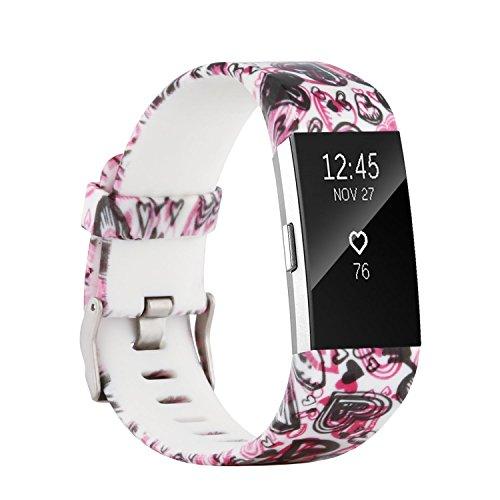 Fit-power - Correa de repuesto para Fitbit Charge 2, accesorio ajustable para pulsera de actividad física Fitbit Charge 2, pequeña y grande, Pattern O, Small Size