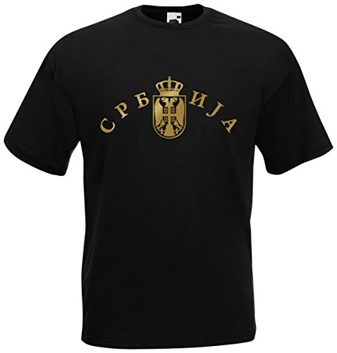 Serbien Srbija T-Shirt Fanshirt Trikot EM-2021 Schwarz XL
