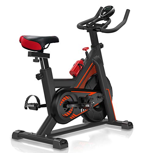 VIEWALL Adjustable Resistance Indoor Exercise Bike Stationary Cycling Bicycle Home Gym Health Workout Fitness Training with Comfortable Seat Cushion Heavy Flywheel Digital Monitor and iPad Mount