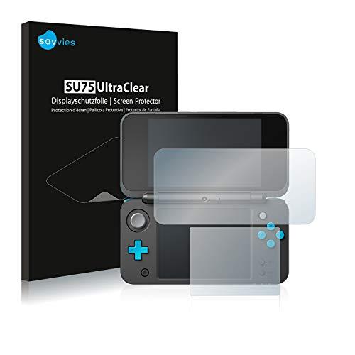 savvies Protector Pantalla Compatible con New Nintendo 2DS XL (18 Unidades) Película Ultra Transparente