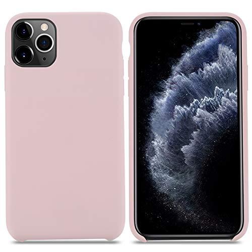 Cover iPhone 11 Pro Max,Custodia Silicone Liquido Antiurto con Fodera Microfibra Morbida Anti-Graffio Silicone Case Ultra Sottile Protettiva Cover per Apple iPhone 11 Pro Max.(6.5 inch,Rosa Sabbia)