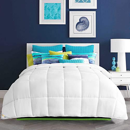 HARBOREST Down Alternative Comforter - Queen Size Bed Comforter Plush Microfiber Fill All-Seson Duvet Insert with 8 Corner Tabs White