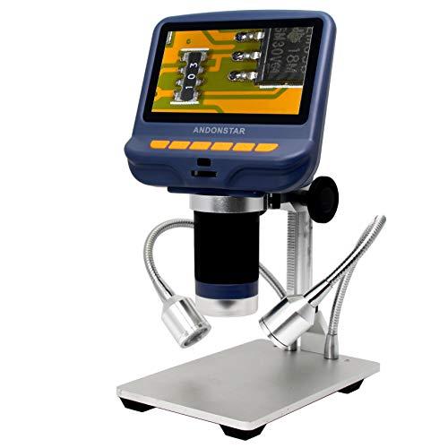 Andonstar AD106S Digitales USB-Mikroskop, 10,9 cm (4,3 Zoll) Bildschirm, Mikroskop zum Löten / PCB / Uhr / Telefon, mit Ständer und IR-Fernbedienung