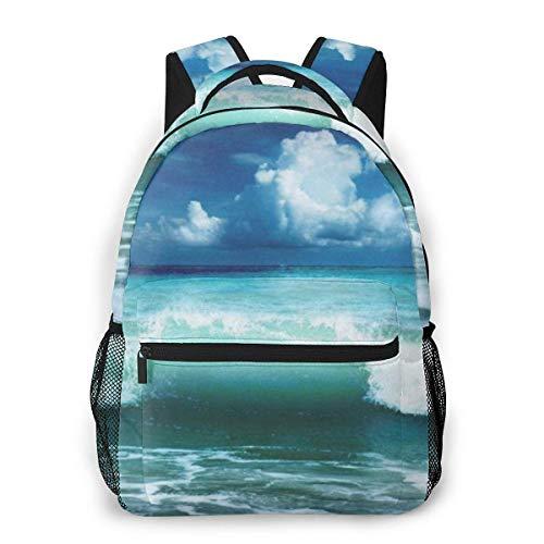 Lawenp Mochila Informal Caribbean Ocean Wave para Viajes Escolares al Aire Libre Bolso Grande de Moda para Estudiantes