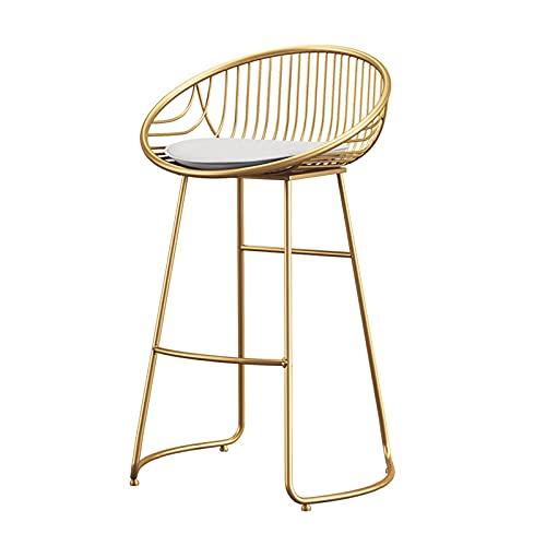Taburete de Bar Moderno con Respaldo de Terciopelo, cojín Acolchado sillas de Bar sillas de Cocina con Patas de Metal Dorado para mostrador de Cocina Barra de Desayuno café 75 cm Rosa