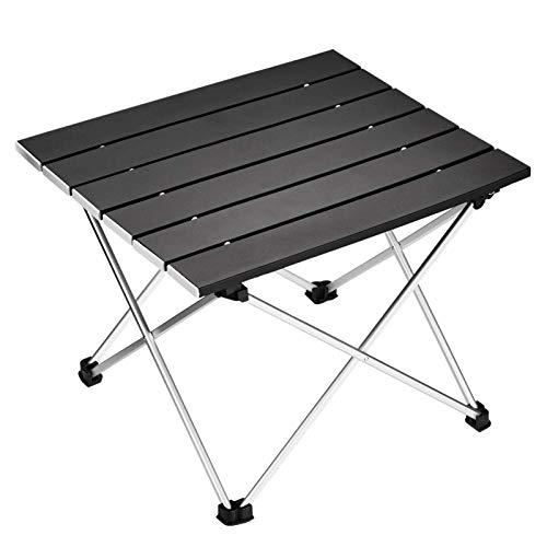 WWVAVA Mesa de camping portátil plegable de aluminio, ideal para picnic al aire libre, barbacoa, cocina, vacaciones, playa, senderismo, color negro