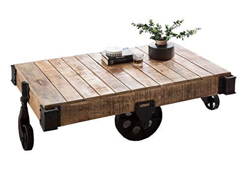 Sit Möbel This & That Couchtisch Mango lackiert, Räder und Beschläge aus Metall B 120 x T 70 x H 39 cm antikfinish, Räder und Beschläge antikschwarz Karre mit Rädern und Beschlägen mit Ablagefach