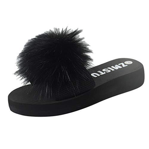 KERULA Damen Hausschuhe Flache Fluff Draussen Flip-Flops Badeschuhe Home Badelatschen rutschfest Slippers Pantoffeln Gartenschuhe Schlappen Slide Sandal Sandalen