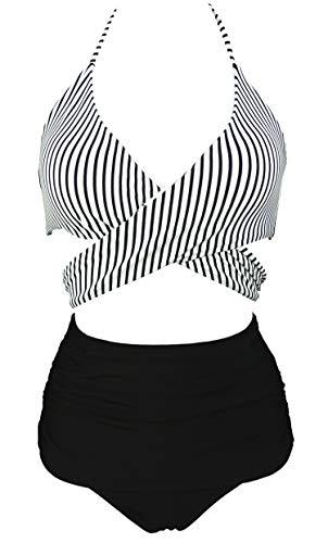 COCOSHIP Black & White Striped Women's Vintage Ruched High Waist Bikini Set Criss Cross Push Up Sport Tie Back Swim Beachwear 8