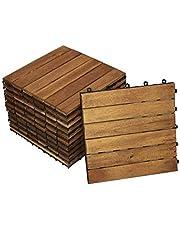 Junado 11er voordeelset terras- en tuintegels 01 30x30cm, kliktegels, vloerbedekking met drainage, acaciahout
