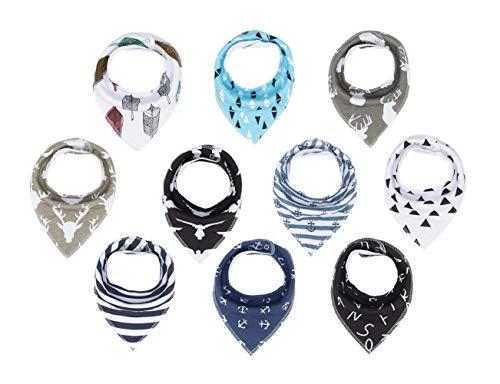 Lot de 10 bavoirs bandana en coton pour bébé garçon et fille