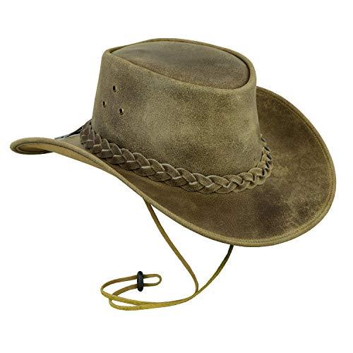 Leatherick Sombrero de Cuero para Hombre, Estilo Vaquero, Caballo Loco Real con Correa para la Barbilla Beige XL