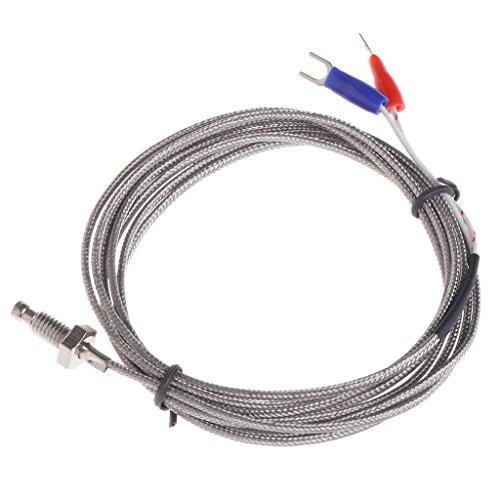 XIGAWAY Tipo cable 2M 0-600° del termopar K del sensor de temperatura de la sonda del tornillo del hilo M6