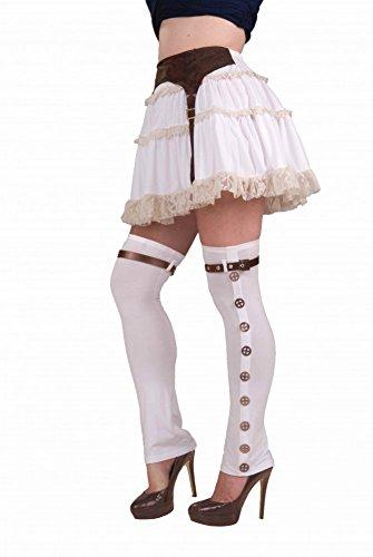 shoperama Ausgefallene Halterlose Strümpfe weiß mit Zahnrädern für Damen Steampunk-Kostüm Stiefelstulpen Gamaschen Stulpen