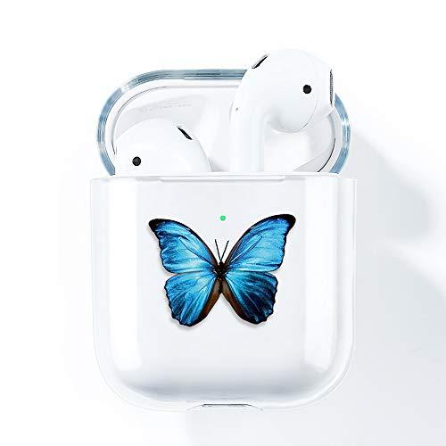 AKABEILA Coque AirPods Case, Compatible avec Apple AirPods 2 & 1 Coques Silicone Transparente Housse air pods étui Protection (LED Avant Visible) Antichoc Etui Motifs Mignons, Papillon