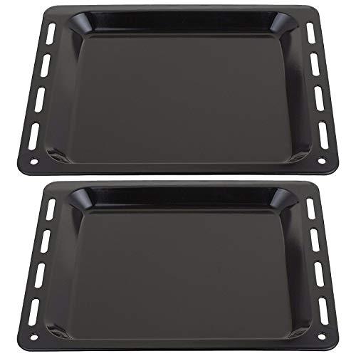 SPARES2GO Bandeja de horno esmaltada compatible con horno Bosch (455 mm x 360 mm x 25 mm, 2 unidades)