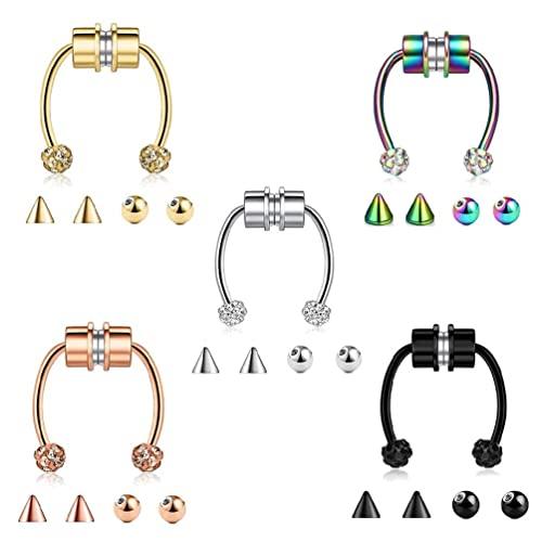 GHBOTTOM 5 piercings falsos para el septum, magnéticos, con forma de herradura, de acero inoxidable, reutilizables, con cristal
