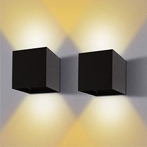 2 Stücke LED Wandleuchte 12W Innen/Außen Wasserdichte IP65 Wandlampe Mit Einstellbar Abstrahlwinkel Wandbeleuchtung Warmweiß 2800-3000K