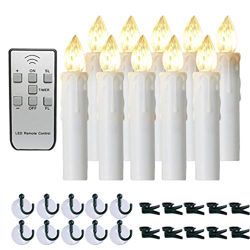 Amagic 10pcs Flameless LED Window Candles with Remote and Timer Function, Christmas Tree Candle Lights, Battery Operated Taper Candles for Wedding/Party/Birthday/Easter Decoration, Warm White