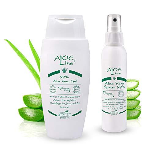Aloe Vera Set - Bio Aloe Vera Gel 99% (1 x 150 ml) + Bio Aloe Vera Spray 99% (1 x 100 ml) - lindert leichte Verletzungen & Verbrennungen - ohne Duft- & Farbstoffe - VEGAN
