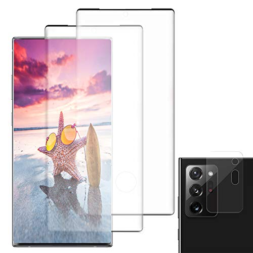[2+1] Galaxy Note 20 UltraTempered Glass Screen Protector + Camera Lens Protector [Fingerprint unlock] [3D Full Coverage] [Anti-scratch][Fit all Note 20 Ultra Case]for Samsung Galaxy Note 20 Ultra