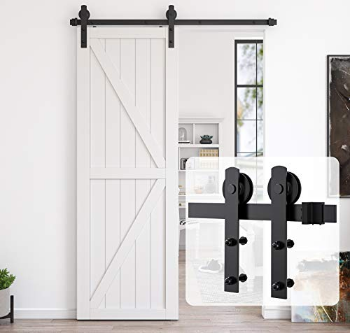 HomLux 5ft Heavy Duty Sturdy Sliding Barn Door Hardware Kit, Single Door-Smoothly and Quietly, Easy to Install and Reusable - Fit 1 3/8-1 3/4' Thickness & 30' Wide Door Panel, Black(I Shape Hanger)