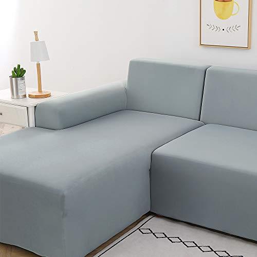 papasgix Copridivano con Penisola Elasticizzato Chaise Longue Sofa Cover Componibile in Poliestere a Forma di L 2 Pezzi, Fodere per Divano Angolare(2 Posti + 2 Posti, Grigio Fumo)