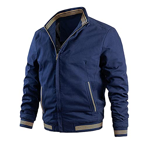 Tops for Men Sports Button Pocket Jacket Baseball Collar Flying Long Sleeve Autumn Winter Casual Warm Blouse Coat (02 Blue, XXL)