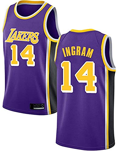 Ropa Uniformes de baloncesto para hombres, Los Ángeles Lakers # 14 Brandon Ingram NBA Ocio de verano Chalecos deportivos Camisetas Cómodas camisetas de baloncesto sin mangas Tops transpirables, Púrpur
