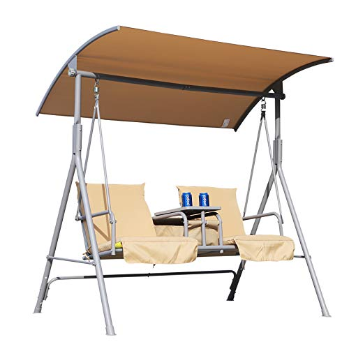 Outsunny Outdoor 2 Seater Swing Chair Sun Shade Heavy Duty Cushioned Adjustable Canopy Double Padded Seats - Beige