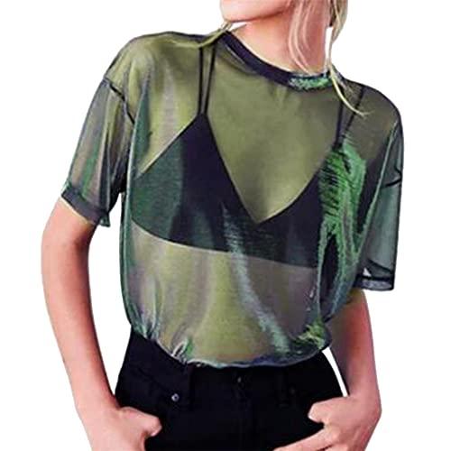 para Mujer Escote Redondo elástico Transparente Tops de Malla Ajustados Sexy Blusa de Manga Larga Tops para Mujer Camiseta Sexy Clubwear Malla Body Tops de Manga Larga Camiseta Túnica Transparente