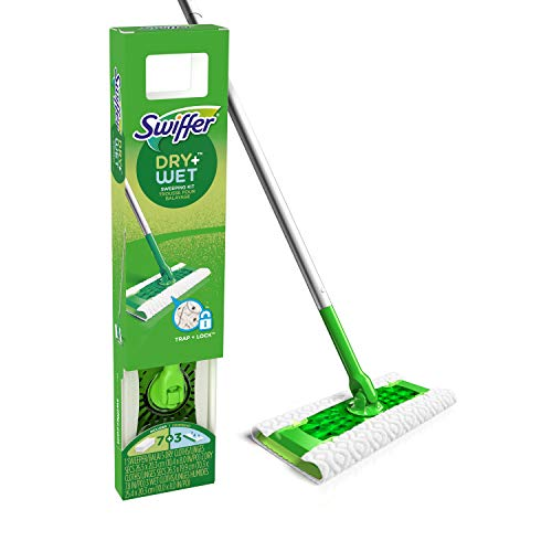 Swiffer Sweeper Dry + Wet All Purpose Floor Mopping and Cleaning Starter Kit with Heavy Duty Cloths, Includes: 1 Mop,...