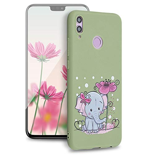 Huphant Kompatibel mit Huawei Honor 8X Hülle, Silikon Handyhülle für Huawei Honor 8X Case Stoßstange Gemaltes Tier Non-slip Anti-gelb Ultradünn Silikon Case -Elefant