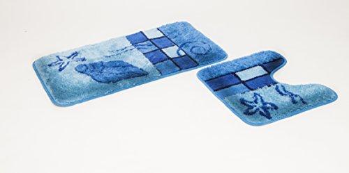 GOODWAY 2 Teiliges Badematten Set, Badteppich, Badvorleger Hamburg, blau mit Ausschnitt
