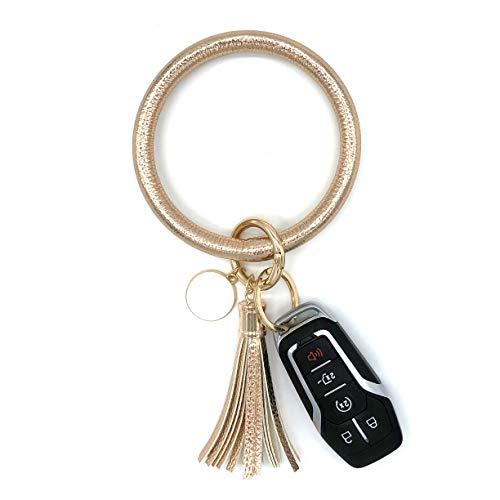 simpleGURU Bracelet Keychain with Tassel Leather Wristlet Keychain Bangle Key Ring Bracelet for...