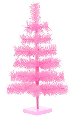 24' Pink Christmas Trees Artificial Flame Resistant Pink Branches Classic Tinsel Retro Feather Tree Tabletop Women's Pride Display Tree Wooden Base Stand Included (Barbie Pink)
