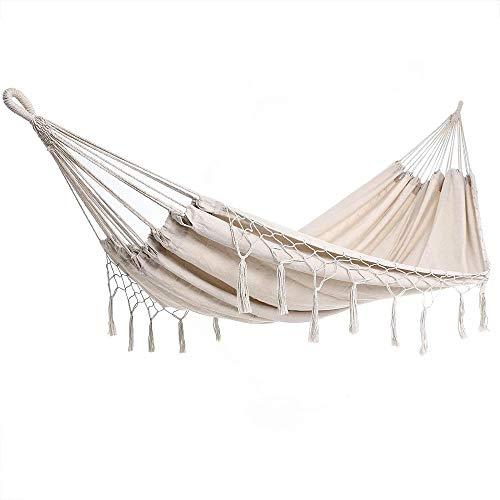 PJY hammock 300kg resilient 320x150cm breathable fringes weatherproof camping garden cloth hammock multi-person blue, cream