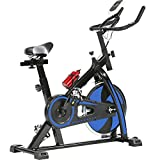 Indoor Exercise Bike Spinning Cycling Bike Stationary W/LCD Display Heart Rate Adjustable Foot Fitness Equipment (Blue)
