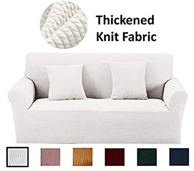 Argstar Thick Couch Covers Large, Extra Long Couch Slipcover, Premium Slipcovers for Large Couch, Extra Large Sofa Slipcover, Furniture Cover for Large Sofas, Elastic Oversized Sofa Protector, White