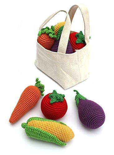 Fantastic Prices! Cheengoo Organic Bamboo Crocheted Bag of Veggie Rattles Set of 4