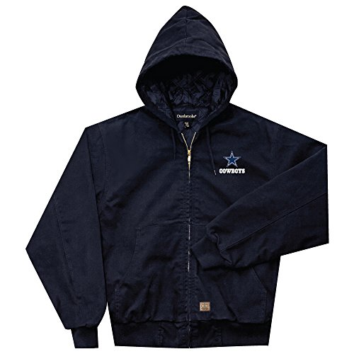 NFL Dallas cowboys Cumberland Canvas Quilt Lined Hooded Jacket, Navy, Small