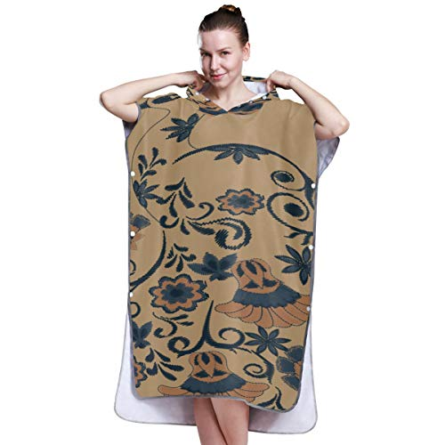 Yushg Indian Style Flower Art Poncho Towels for Boys Towel Poncho Surf Changing Robe Towel for Surfing Swimming Bathing One Size Fit All