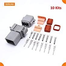 Gimax Brand New 10 Sets Kits Car Parts 8 Pin/Way Deutsch Auto Sealed Electric Wire Connector Plug Set Waterproof DT06-08S DT04-08P - (Pins: 8P)