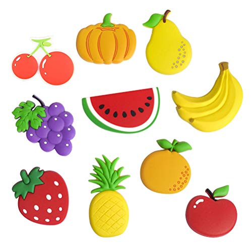 Bestonzon 10 Pieces Cute Cartoon Fruits Stereo Fridge Magnets whiteboard Magnets for Children Activity Decoration