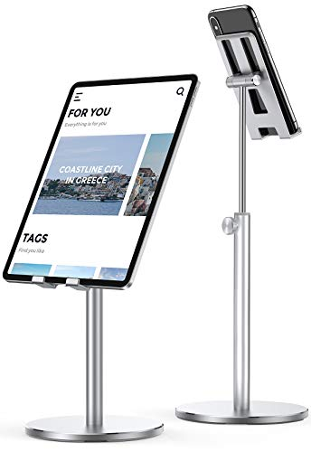 LISEN Tablet Stand, Upgraded Stable iPad Stand Holder All Aluminum Alloy, Angle Height Adjustable iPad Holder for Desk Case Friendly for 4.7'-12.9' Phones/iPad/Tablets/Switchs/Kindles/E-Reader-Silver