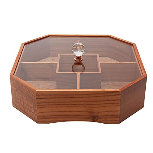 Wooden Dried Fruit Box w/ Transparent Lid, Divided Design Snack Storage Container Sectional Serving Tray, Multi-usages Party Serving Platter for Storing Nuts/ Candies/ Dessert (5 Grid)