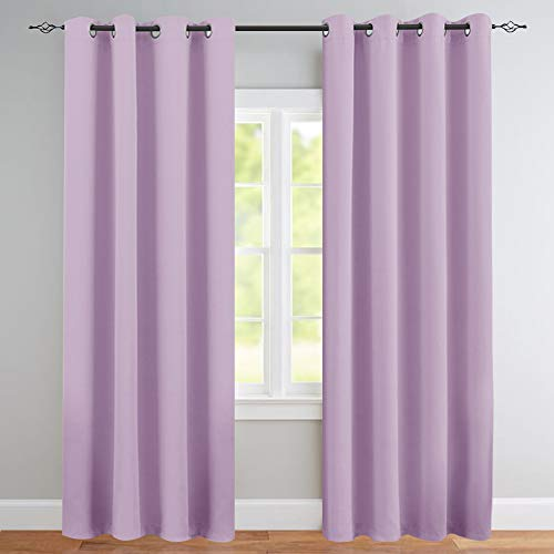 Blackout Curtains for Kids Room Darkening Window Curtain Panels for Living Room 84 inches Long Light Blocking Triple Weave Lila Drapes Grommet Top Window Curtains for Bedroom, 1 Panel