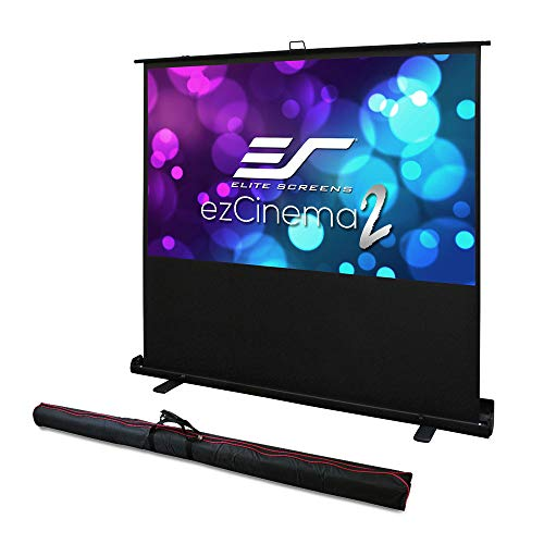 Elite Screens ezCinema 2, Manual Floor Pull Up with Scissor Backed Projector Screen, 84-inch 16:9, Portable Home Theater Office Classroom Projection Screen with Carrying Bag, F84XWH2