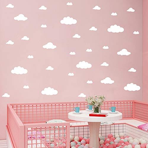 31 pegatinas de pared de nubes blancas, tamaño de mezcla para habitación de niños, decoración del hogar, vinilo, decoración de la nube de vinilo adhesivo para cuarto de bebé, decoración de arte